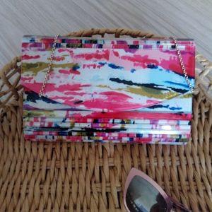 Olga Berg Multicolor acrylic clutch evening bag